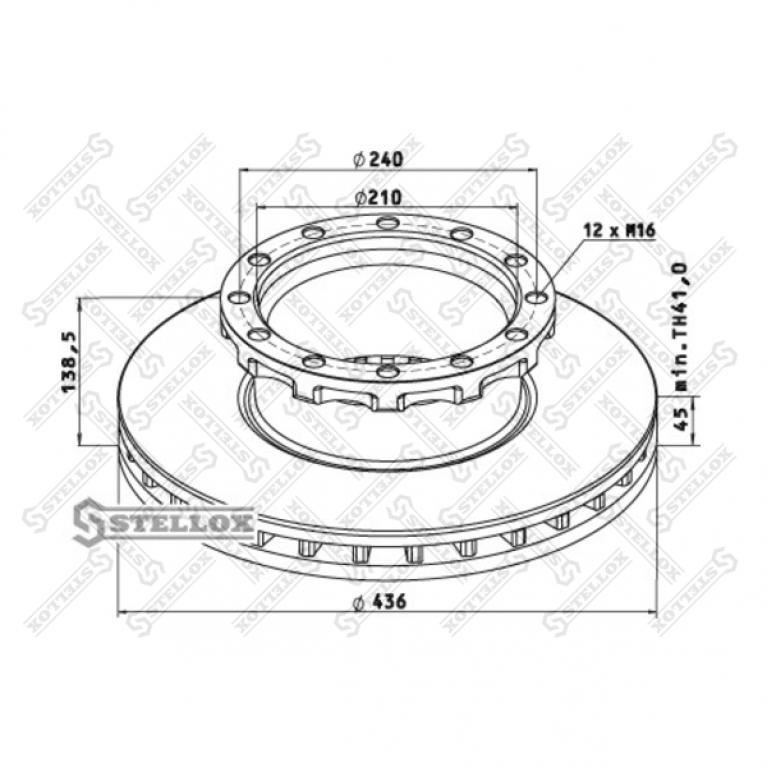Тормозной диск IVECO 436/210x45/138.5 12n-240-M16 1шт. 960053