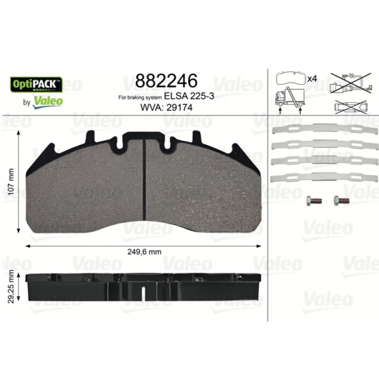 Тормозные колодки диск. с р/к, 249.6x107x29.25 RVI Magnum,Premium,Volvo FM/FH13 882246 882246