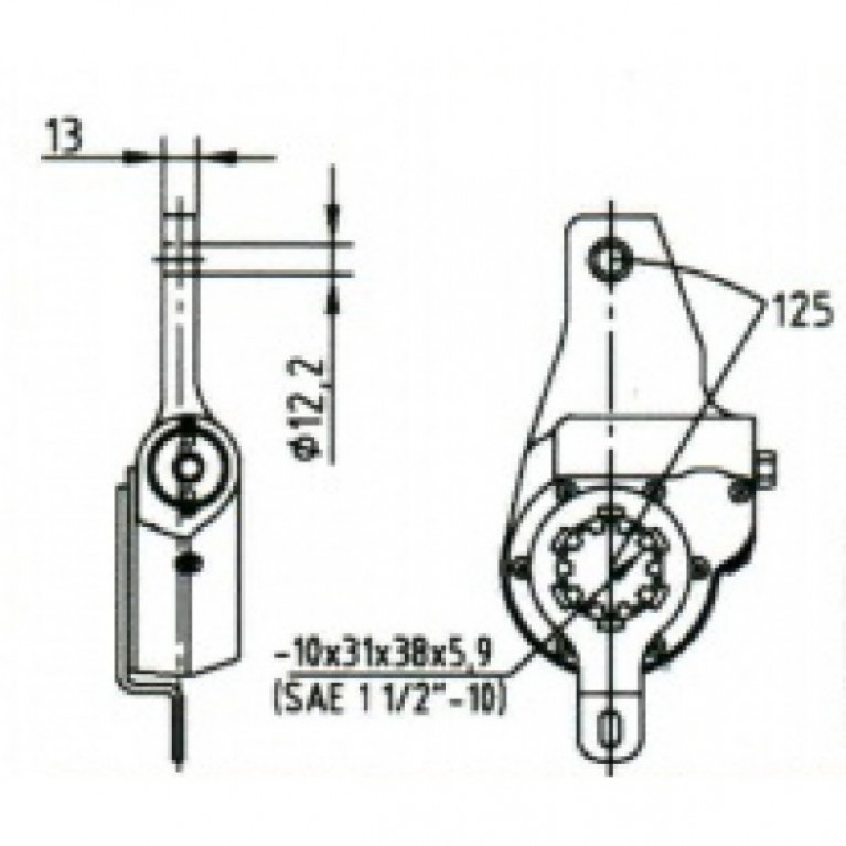 Рычаг тормоза регулировочный / МЗТА РТ-40-54 / 79620 / 4W433680041 РТ4054 МЗТА