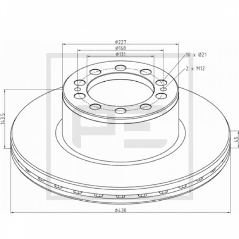 Тормозной диск 430/131x45/143.5 10n-168-M12x2 MB Актрос/Аксор 016.67200A PE