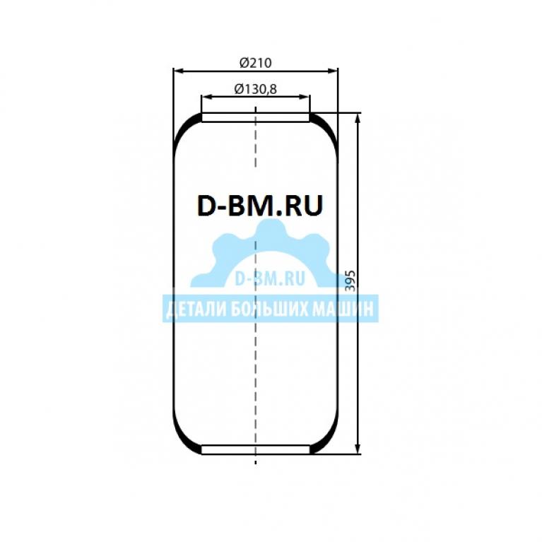 Пневморессора цилиндр 395-210-130.8/130.8 MAN/Volvo 3644 3644