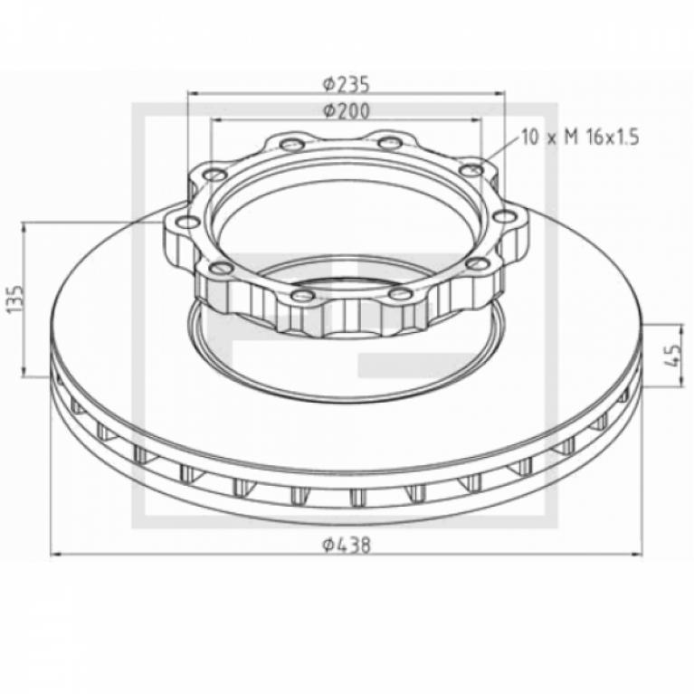 Тормозной диск передний 438/200x45/135 10n-235-M16x1.5 МАН WMA M38/T01/02/03 V9-80L 036.10400A PE