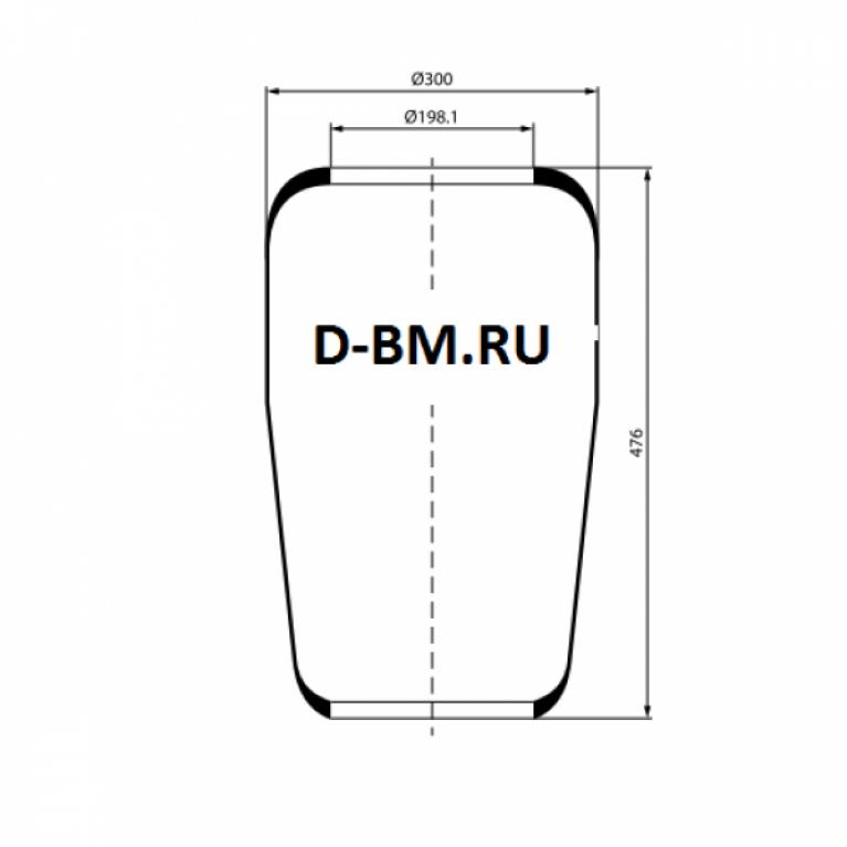 Пневмоподушка конус 470-300-198.1/198.1 DAF, VOLVO, MAN 3728 3728