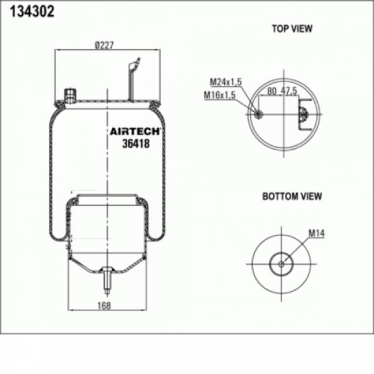 Пневмопамортизатор со стаканом Volvo FM/FH9/12/16 1шп-шт.M16/24 смещ.80+кроншт.4отв.Порш сталь 1шп.M14 36418K