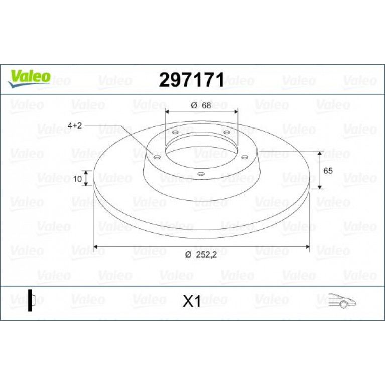 Диск тормозной ВАЗ-2101-2107 1шт. VALEO