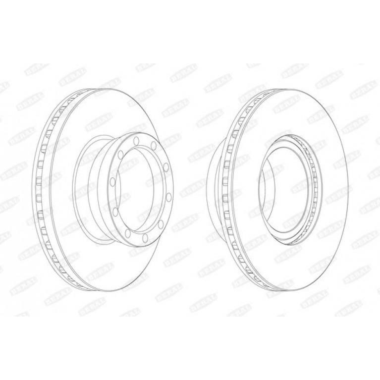 Диск тормозной MAN L2000 передний (330х135х34х104мм) (1шт.) BERAL