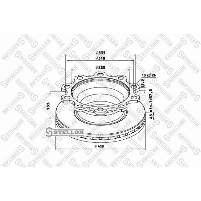 85-00705-SX диск тормозной !430/280x45/155 10n-335-d..\ Acerbi,SMB