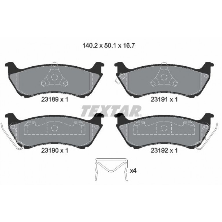 Колодки тормозные MERCEDES ML (W230),ML (W430) задние (4шт.) TEXTAR