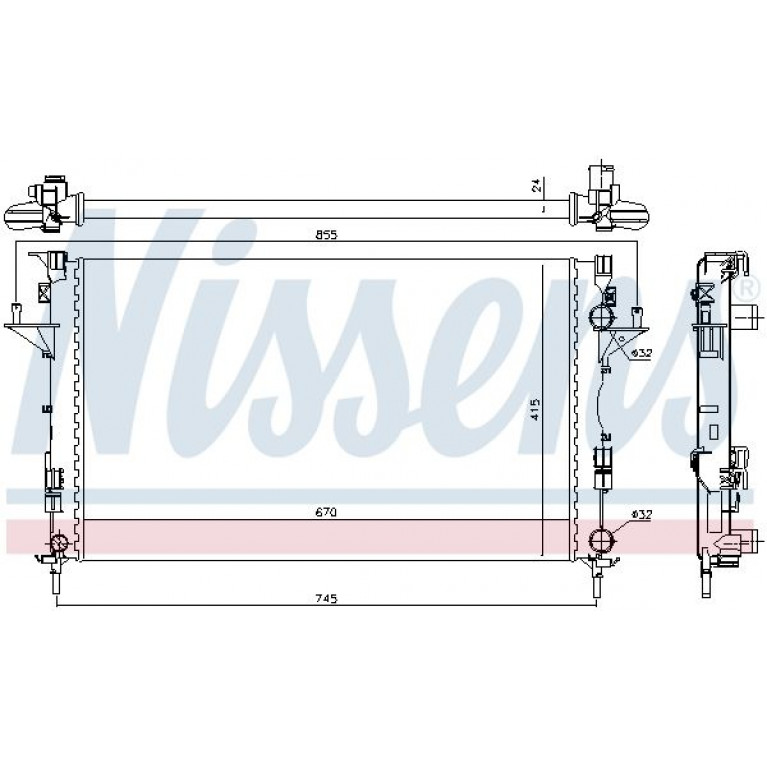 Радиатор RENAULT Laguna (01-07) охлаждения двигателя NISSENS