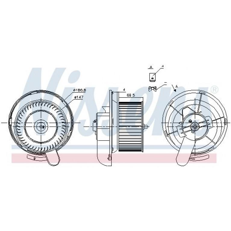 Мотор отопителя MERCEDES Atego односторонний с крыльчаткой и корпусом NISSENS