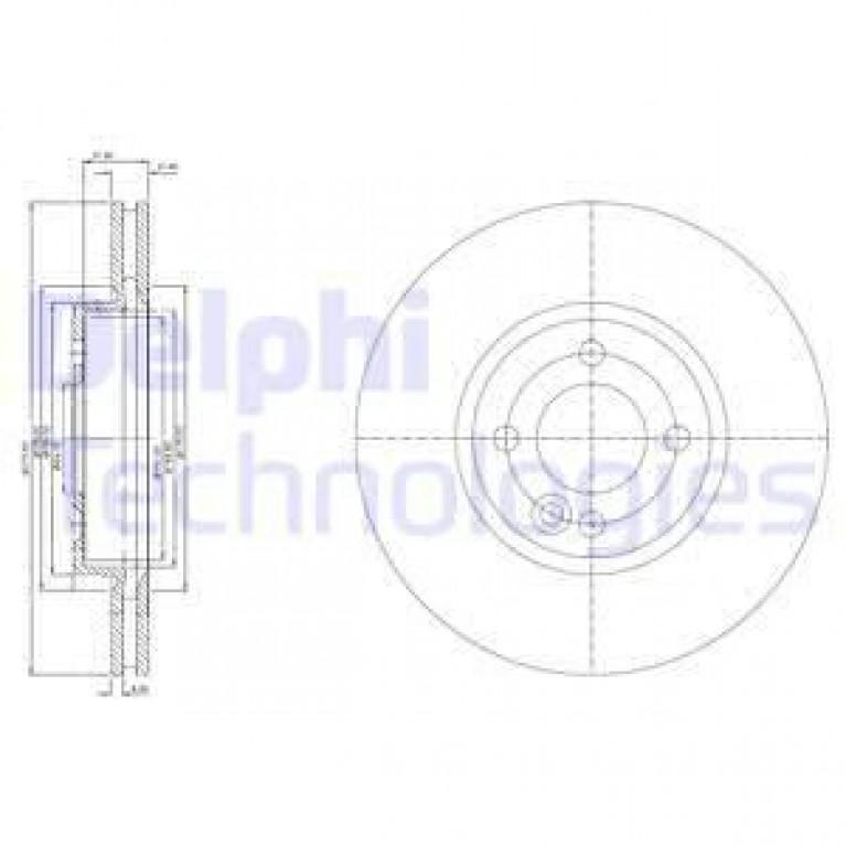 Диск тормозной MINI Cooper (04-07) передний (1шт.) DELPHI