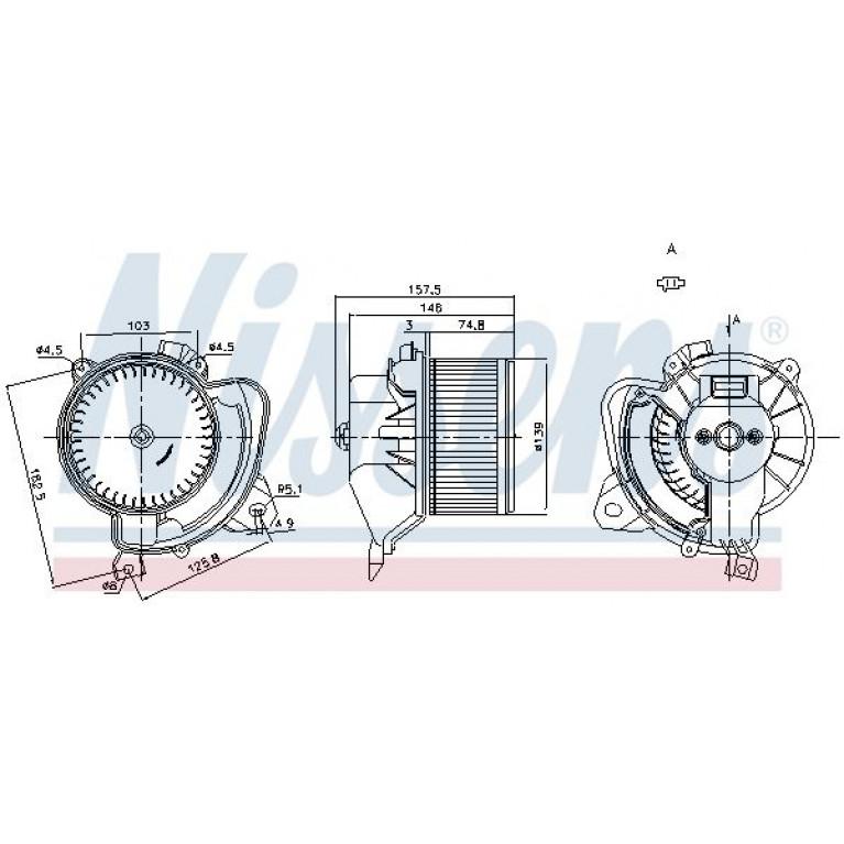 Вентилятор FIAT Grande Punto (05-) отопителя салона NISSENS