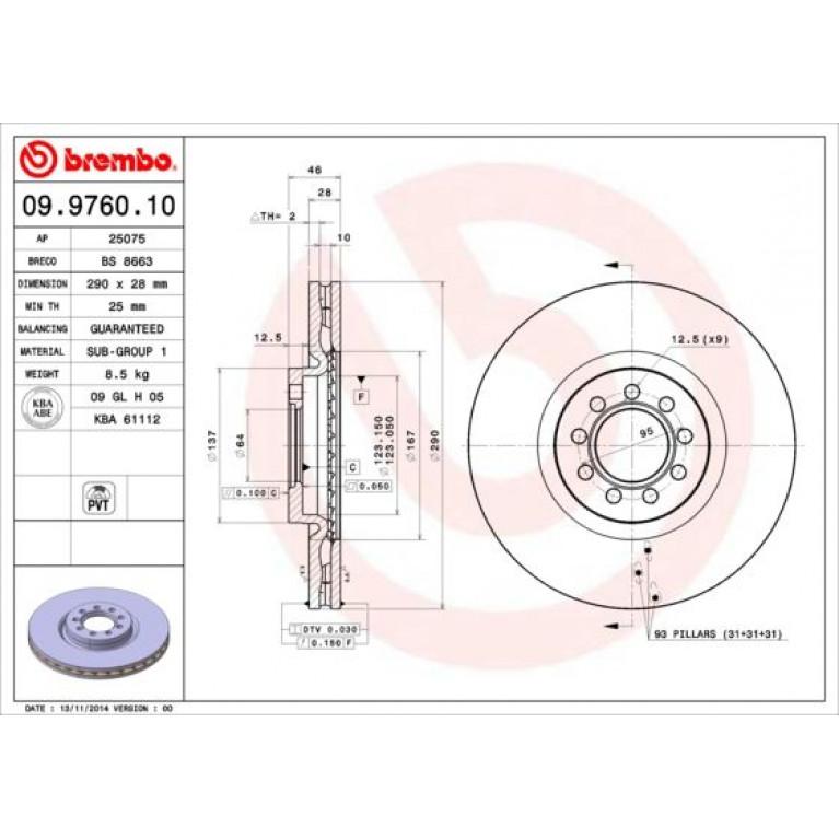 09.9760.10 диск тормозной пер. ! \ Iveco Daily III 29L10-14/35S10/35C10 06>