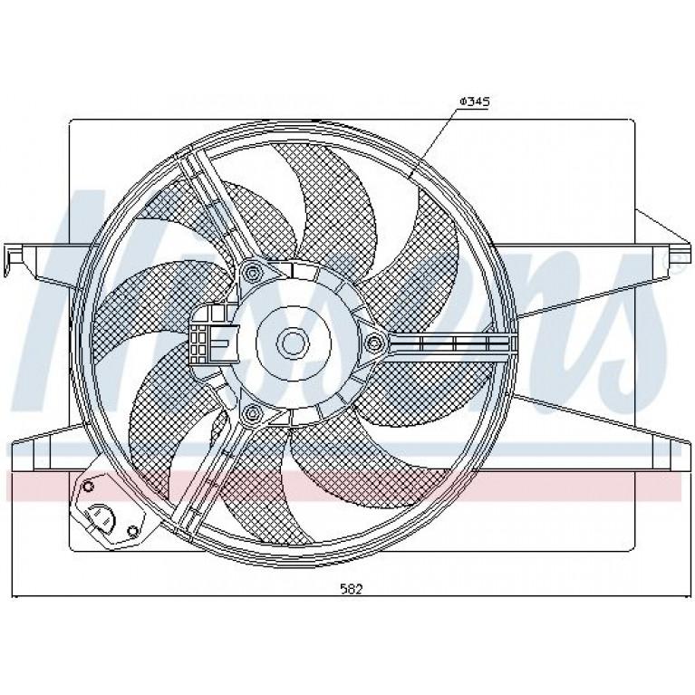 Вентилятор FORD Focus (1.4/1.6) охлаждения электрический NISSENS