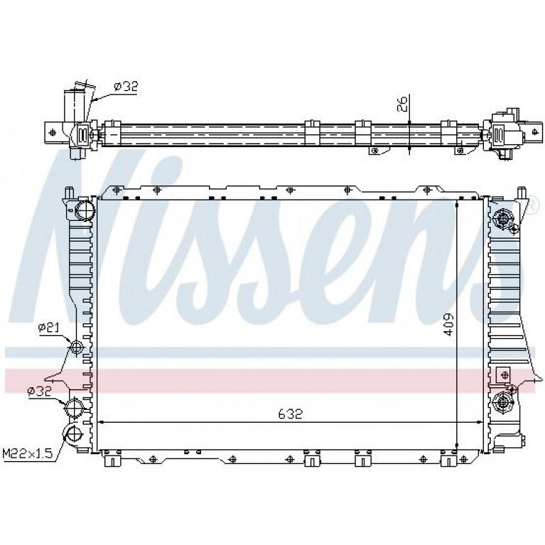Радиатор AUDI 100 (-97) охлаждения двигателя NISSENS