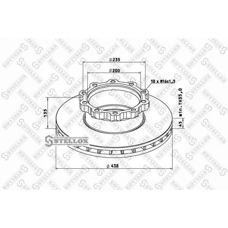 85-00715-SX диск торм. !438/200x45/135 10n-235-M16x1.5\MAN WMA M38.../T01/02/03... ось перед. V9-80L
