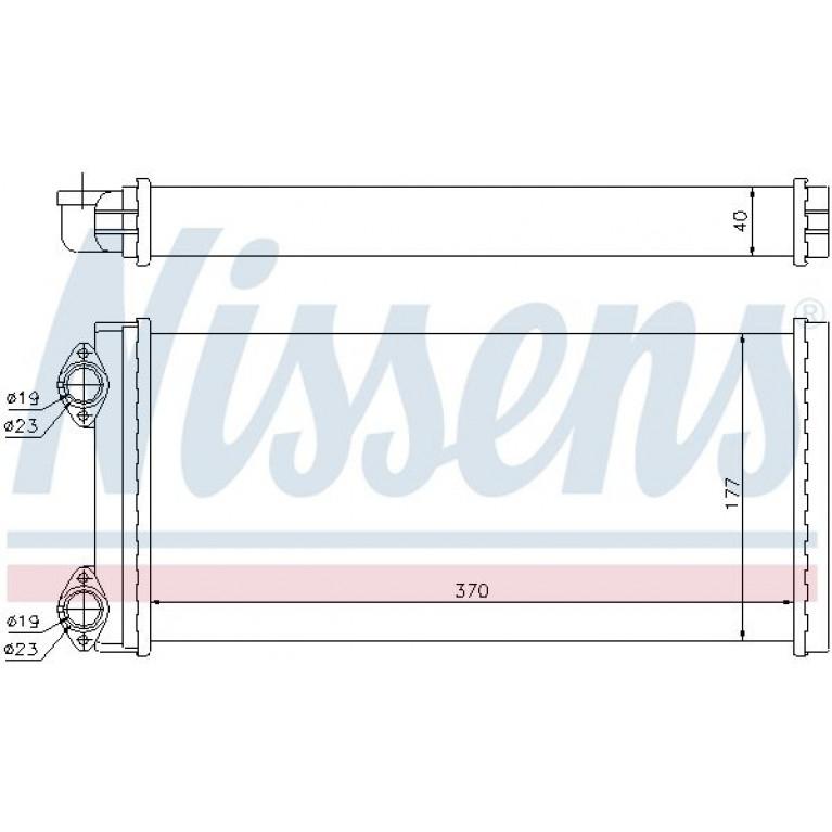 Радиатор отопителя MAN M2000 (95-),L2000 (93-) МАЗ (370х177х40мм) NISSENS