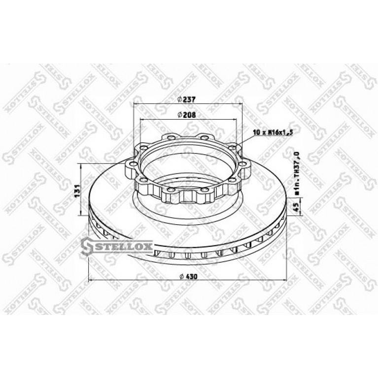 85-00749-SX диск тормозной !430/208x45/131 10n-237-M16x1.5 \Scania 124