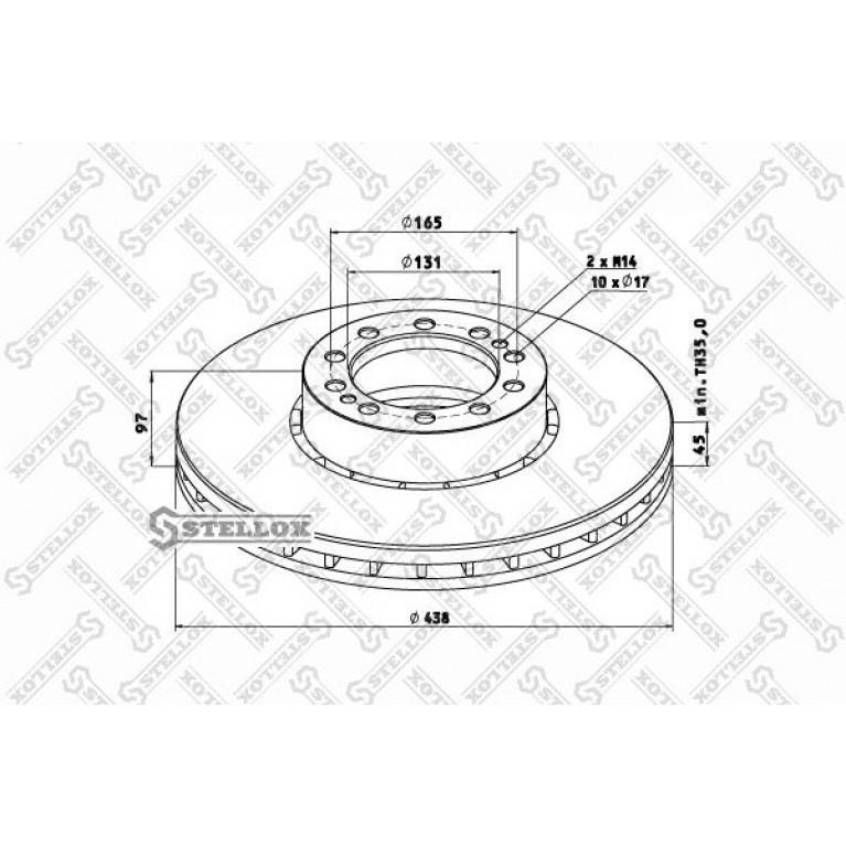 85-00747-SX диск тормозной ! Old 438/131x45/97 10n-165-d17 \RVI MAGNUM AE420/520 1/2/93> PREMIUM 385