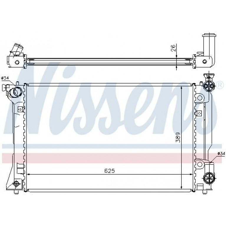 Радиатор TOYOTA Avensis (03-08),Corolla (03-) охлаждения двигателя NISSENS