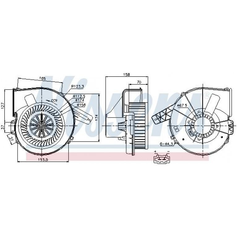 Мотор отопителя VW Polo (09-) AUDI A1 (11-) SEAT Ibiza (13-) SKODA Rapid (13-) NISSENS