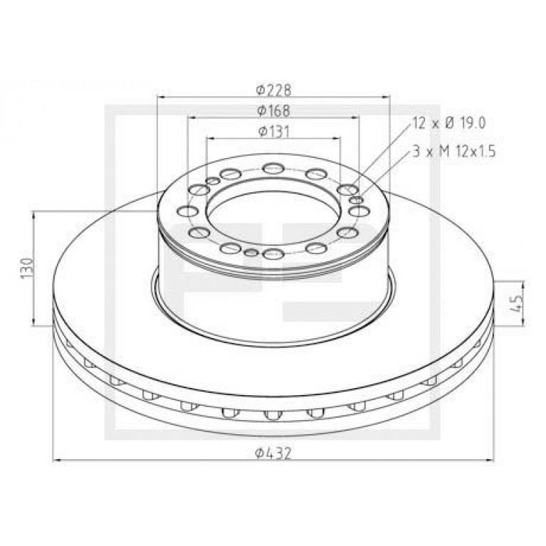диск торм !432/131x45/130 12n-168-d19 \MAN WMA M38.../T01/02/03...
