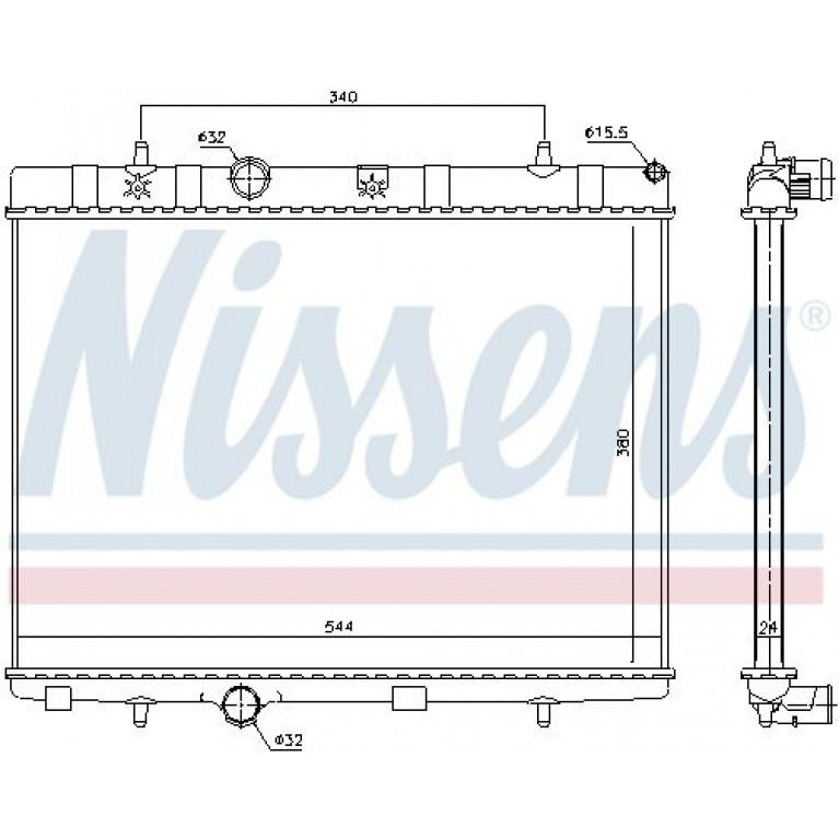 Радиатор PEUGEOT 207 (05-) CITROEN C3 (05-) охлаждения двигателя NISSENS