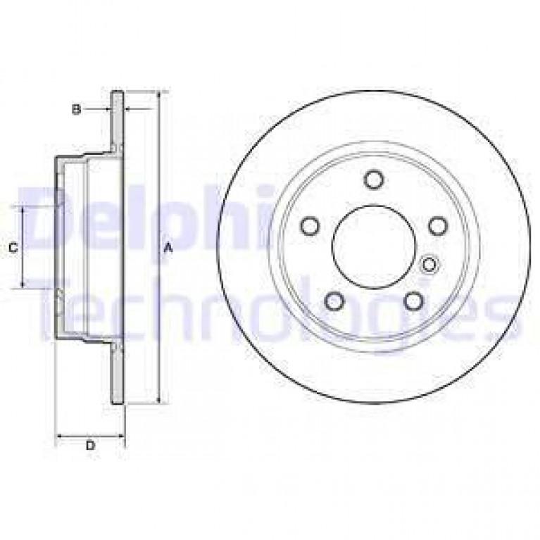 Диск тормозной BMW 3 E36 316-323 90-98/E46 316-318 98-05 задний D=280мм. DELPHI
