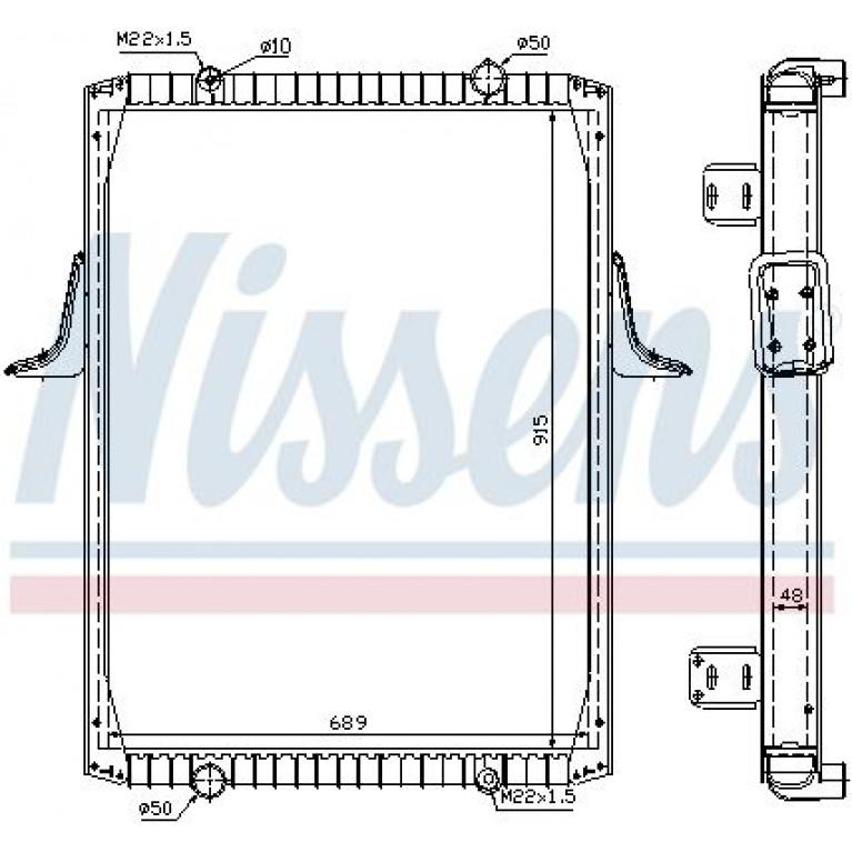 Радиатор RVI Premium/Kerax 340-400 л.с. 96  915*689*48 (алюм.)